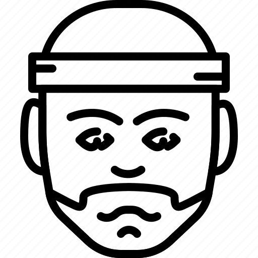 avatar, beard, face, headband, people, person, sporty icon