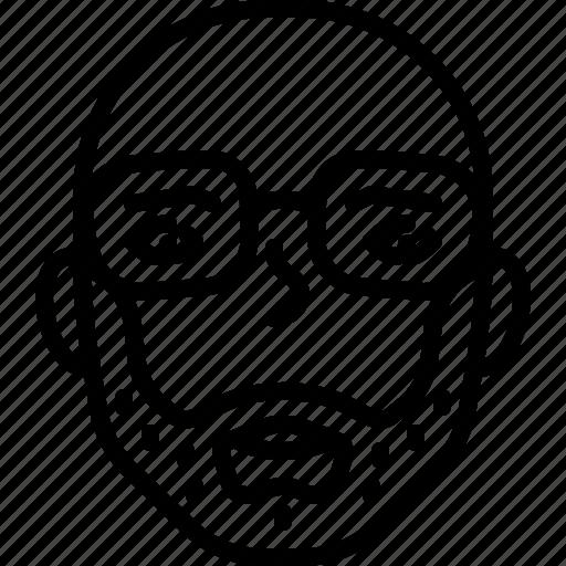 avatar, bearded, eyeglasses, face, nerd, people, person icon