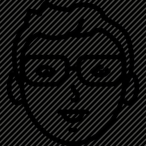 Eyeglasses, people, face, person, avatar, nerd, happy icon