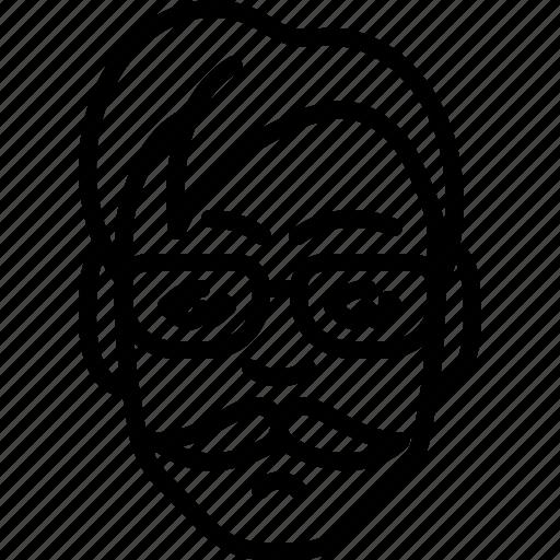 avatar, eyeglasses, face, haircut, moustache, people, person icon