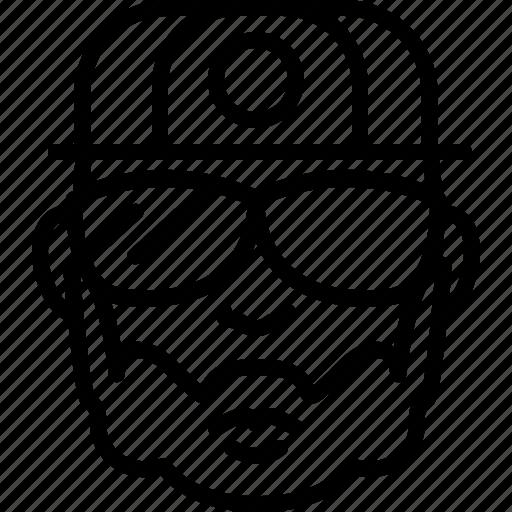 avatar, baseball, face, people, person, rapper, sunglasses icon