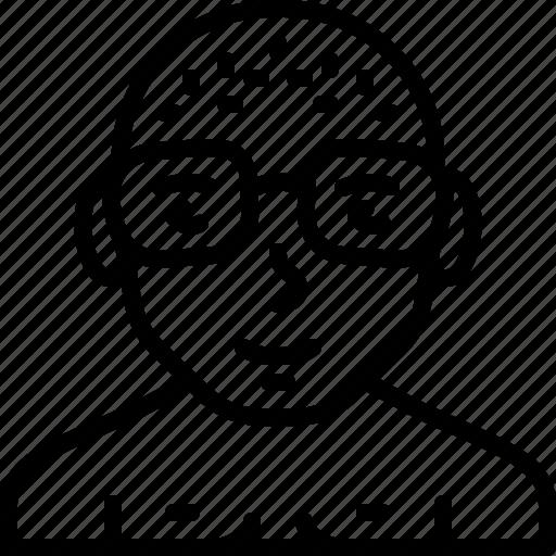avatar, bald, body, eyeglasses, man, naked, person icon