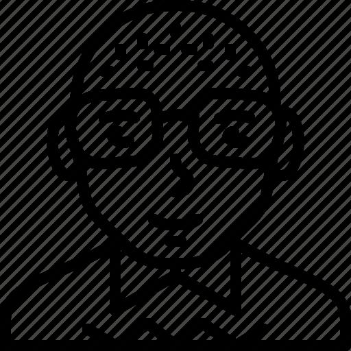 avatar, bald, body, eyeglasses, man, person, sweater icon