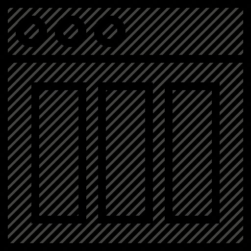 align, app, column, grid, interface, layout, triple icon