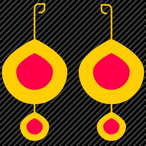 accessory, bijouterie, earrings, gold, gold earrings icon