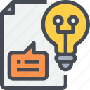 creative, document, file, idea, innovation, light icon