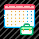 calendar, case, hunting, job, suitcase icon