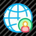glob, hunting, job, man, planet, silhouette icon