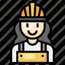 worker, woman, safety, helmet