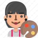 artist, avatar, emoji, female, profile, user icon