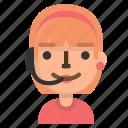 avatar, call, emoji, female, operator, profile, user icon