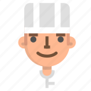 avatar, chef, emoji, emoticon, male, profile, user icon