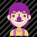 avatar, clown, emoji, emoticon, male, profile, user icon