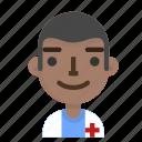 avatar, doctor, emoji, emoticon, male, profile, user icon