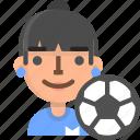 avatar, emoji, female, football, player, profile, soccer icon