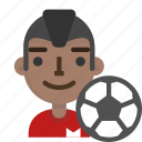 avatar, emoji, football, male, player, profile, soccer icon