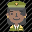 army, avatar, emoji, female, general, profile, soldier icon