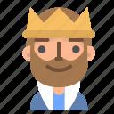 avatar, emoji, emoticon, king, profile, rich, user icon