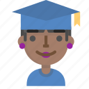 avatar, emoji, female, graduation, profile, school, student icon