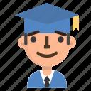 avatar, emoji, graduation, male, profile, school, student icon