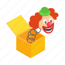 box, clown, fun, gift, isometric, surprise, toy icon