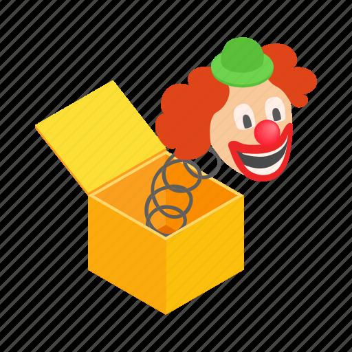 box, clown, fun, gift, isometric, surprise, toy icon