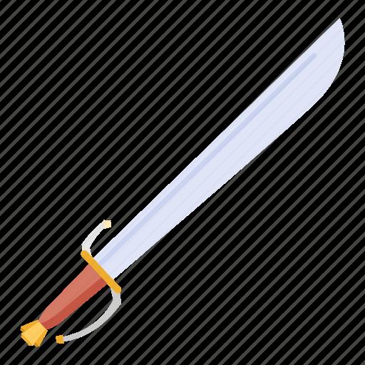 armaments, cleave, curved, european, falchion, machete, sword icon