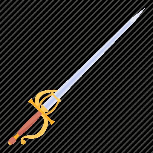 armaments, hilt, rapier, spanish, thrust, thrusting sword, weapon icon
