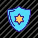 badge, contour, judgement, justice, shield, white