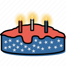 american, cake, candle, celebrate, celebration, independence day, july 4th icon