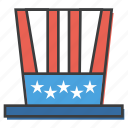 american, celebrations, day, flag, hat, independence, july 4th icon