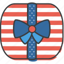 america, american, celebrate, gift box, independence, july 4th, ribbon icon
