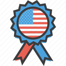 america, badge, flag, independence day, july 4th, patriotism, ribbon icon
