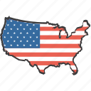 america, american, country, flag, location, map, united states icon