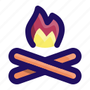 burn, camp, camping, fire, forest, wood icon