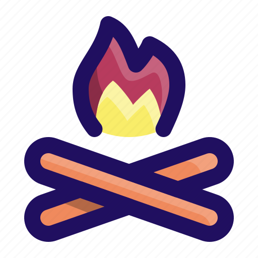 Camp, camping, fire, burn, wood, forest icon