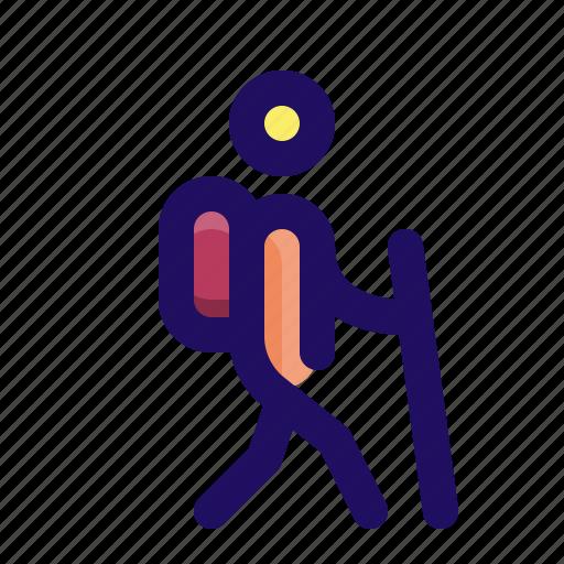 hiker, man, outside, person, trail, walk icon