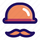 cap, hat, hipster, man, mustache icon