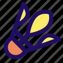 badminton, ball, birdie, feather, game icon
