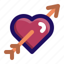 arrow, cupid, heart, love, valentine icon