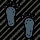footprint, trace, print, step, investigate