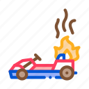 burning, kart, fire, accident, karting, motorsport