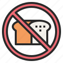 banned, bread, forbidden, no, prohibited icon