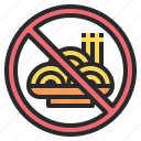 banned, carbohydrate, forbidden, no, noodles, pasta, prohibited icon