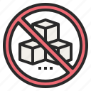 banned, forbidden, no, prohibited, sugar, sweet icon