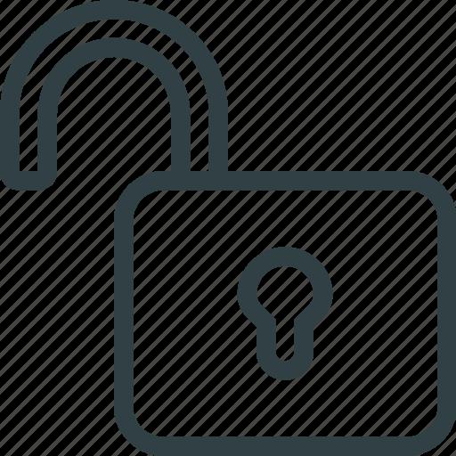 key, keyhole, lock, padlock, unlock icon