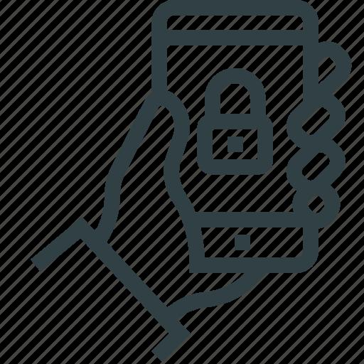 hand, key, lock, phone, smartphone icon