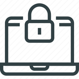 access, computer, key, laptop, lock icon