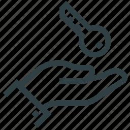 access, hand, key icon