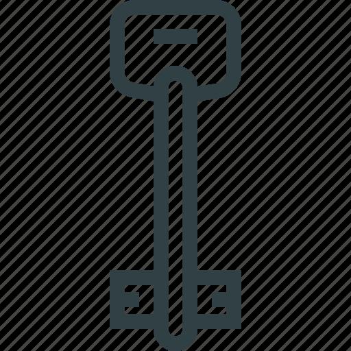 key, thin, unlock icon